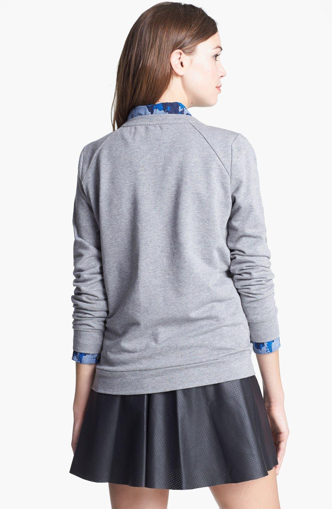 Alternate Image 2  - Two by Vince Camuto Jeweled Baseball Sweatshirt (Petite)