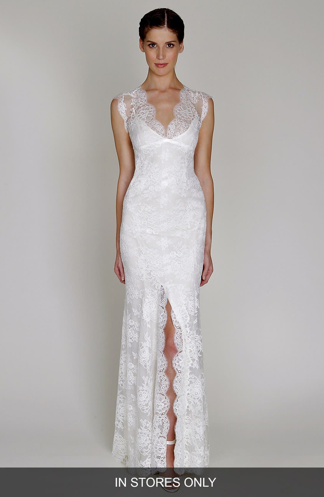 Alternate Image 1 Selected - BLISS Monique Lhuillier Chantilly Lace Open Back Wedding Dress (In Stores Only)