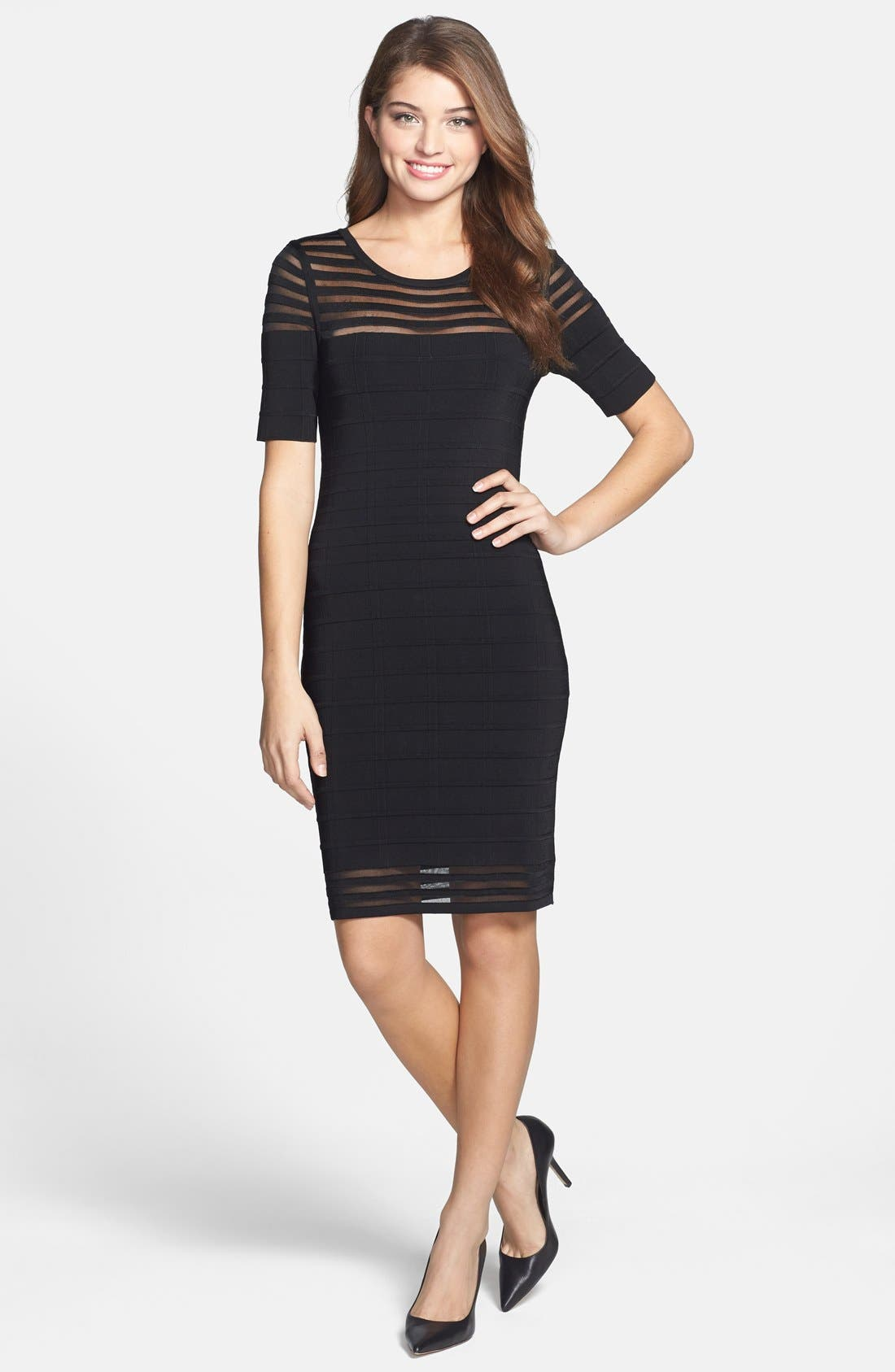 Alternate Image 1 Selected - Vince Camuto Shadow Stripe Grid Stitch Sweater Dress