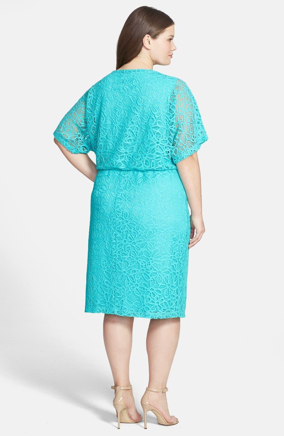 Alternate Image 2  - London Times 'Kimono' Lace Dress (Plus Size)