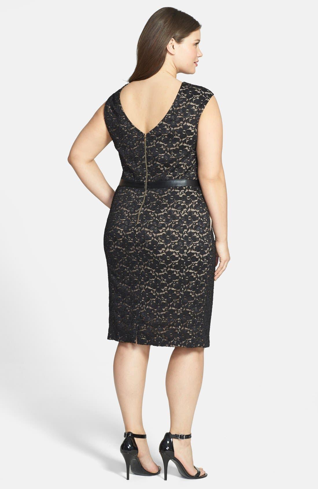 Alternate Image 2  - ABS by Allen Schwartz Leather Waist Lace Sheath Dress (Plus Size)