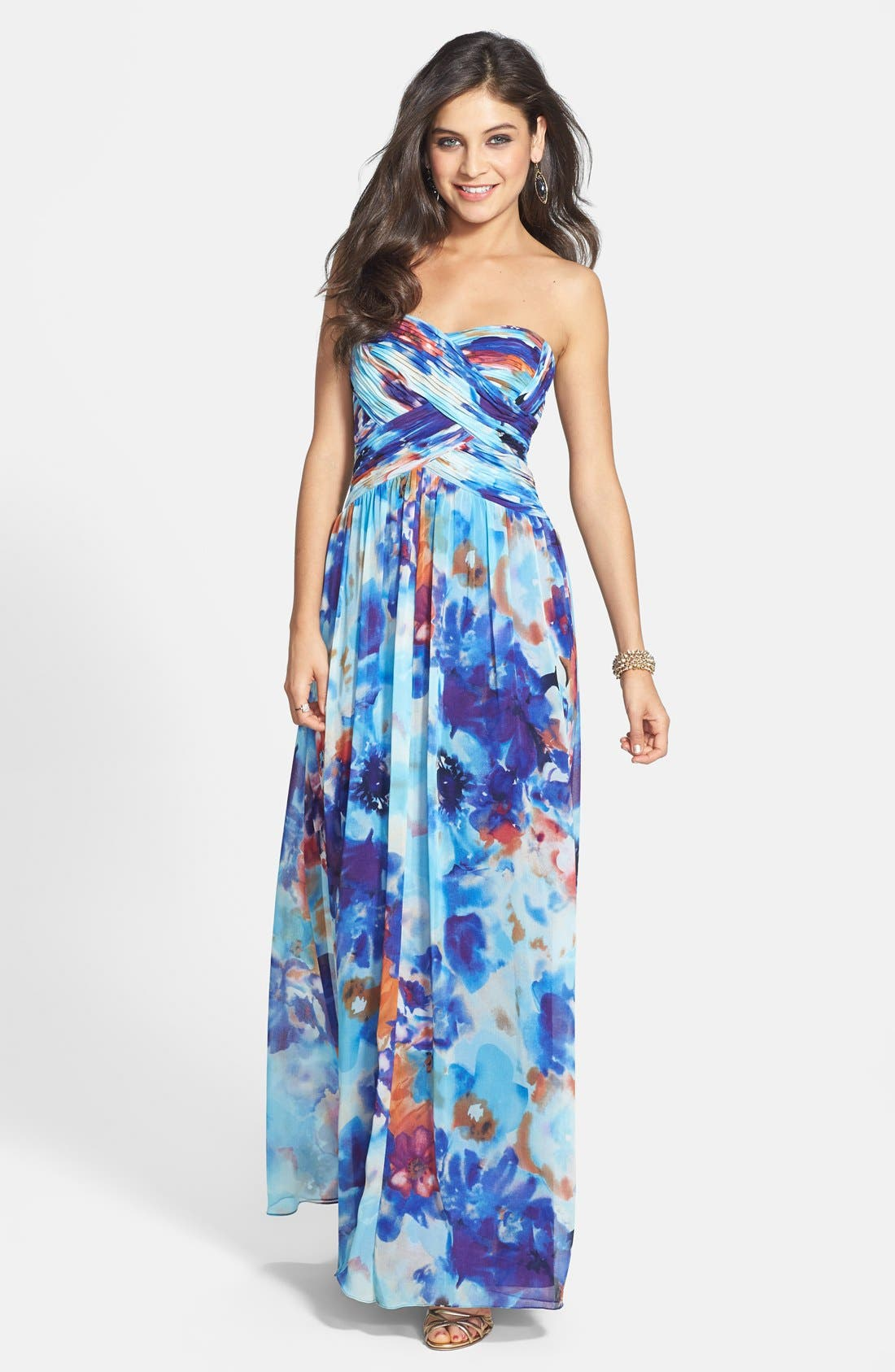Alternate Image 1 Selected - JS Boutique Print Chiffon Strapless Gown