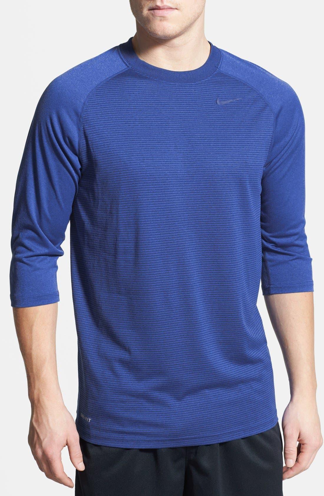 Alternate Image 1 Selected - Nike Dri-FIT Three Quarter Length Raglan Sleeve T-Shirt