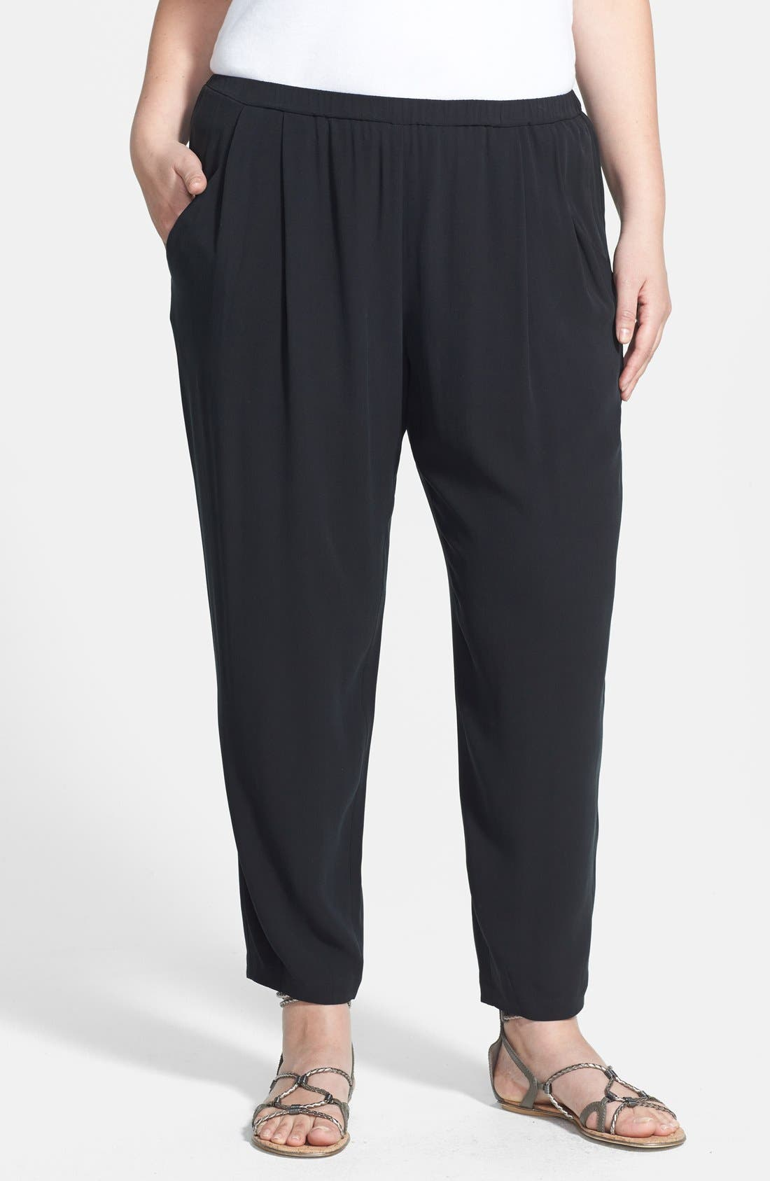 Main Image - Eileen Fisher Pleated Silk Crop Pants (Plus Size)