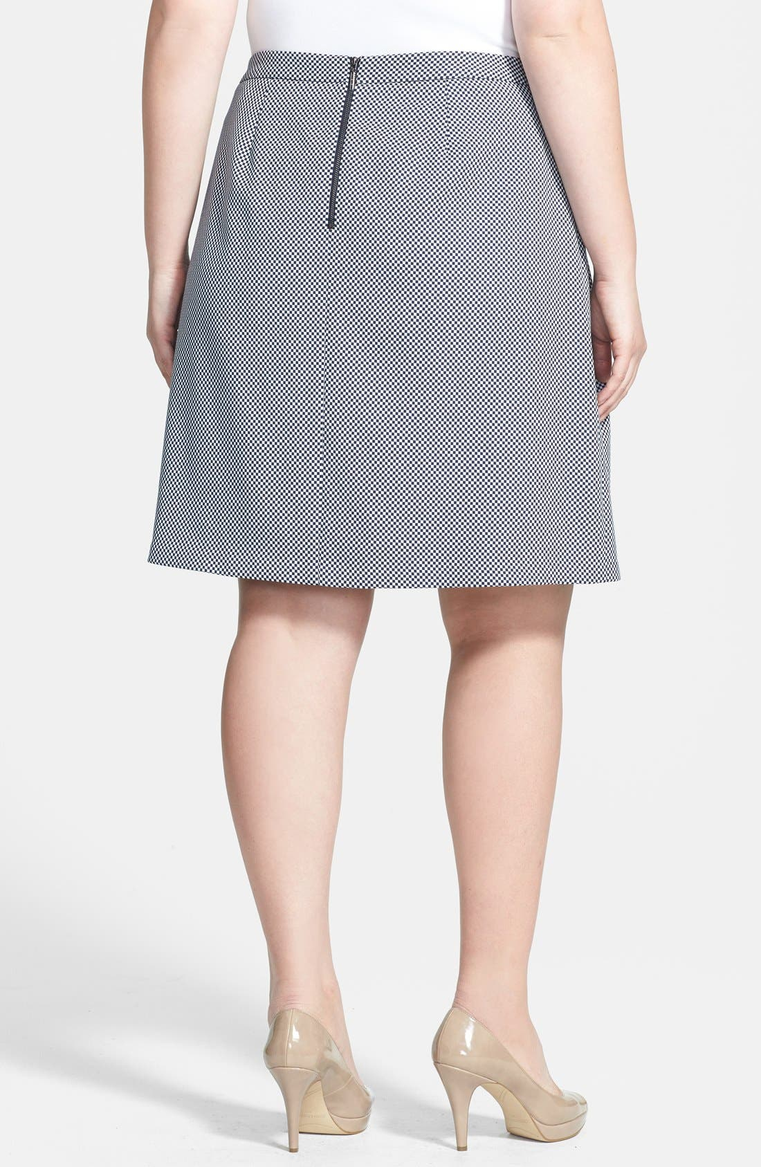 Alternate Image 2  - Anne Klein Check Print A-Line Skirt (Plus Size)