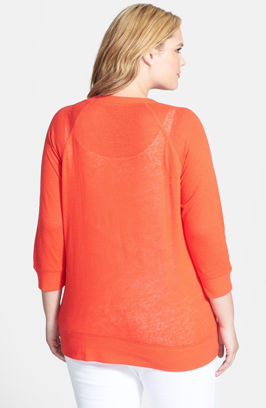 Alternate Image 2  - Halogen® Three Quarter Sleeve Jersey Sweatshirt (Plus Size)