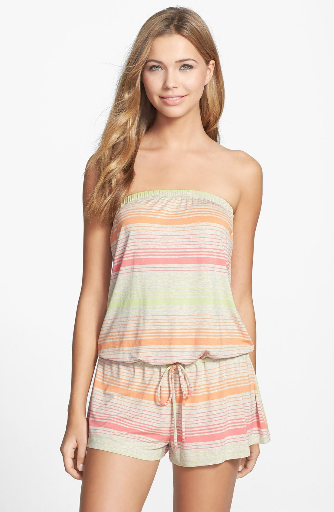 Alternate Image 1 Selected - Lucky Brand Swimwear 'Neutral Territory' Strapless Cover-Up Romper