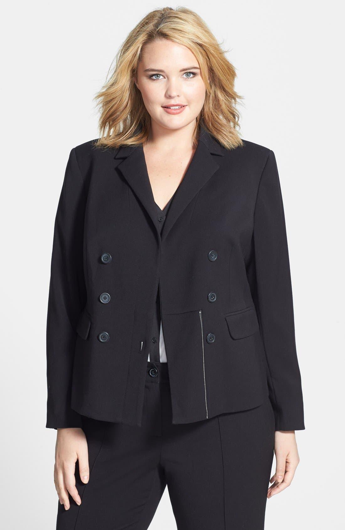 Alternate Image 1 Selected - Anne Klein Side Zip Blazer (Plus Size)