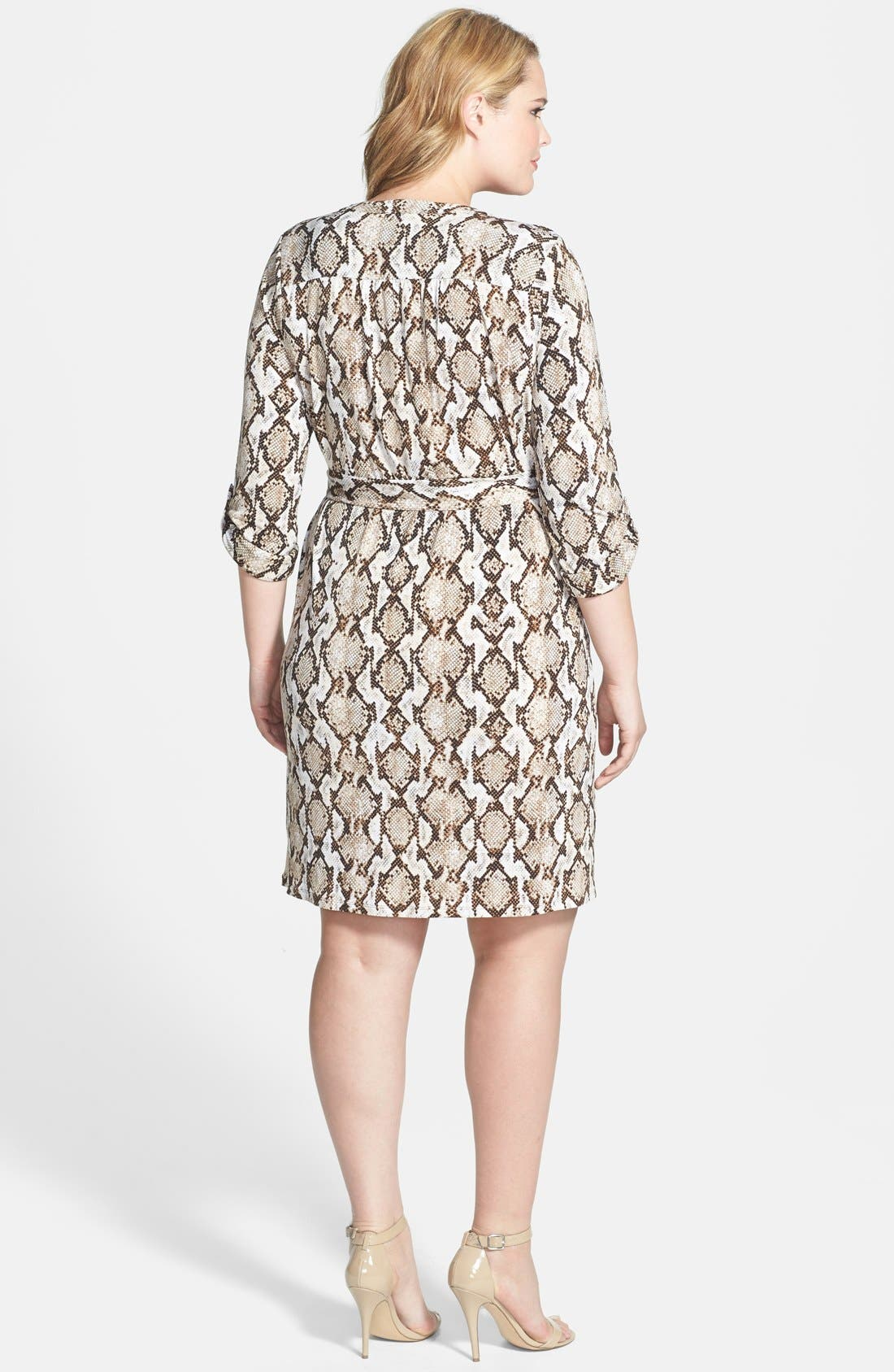 Alternate Image 2  - MICHAEL Michael Kors Chain Lace-Up Jersey Dress (Plus Size)