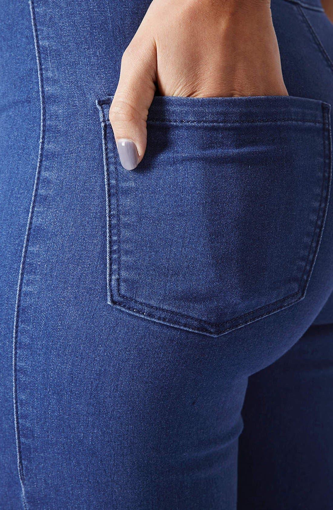 Alternate Image 4  - Topshop Moto 'Joni' High Rise Skinny Jeans (Regular, Short & Long) (Blue)