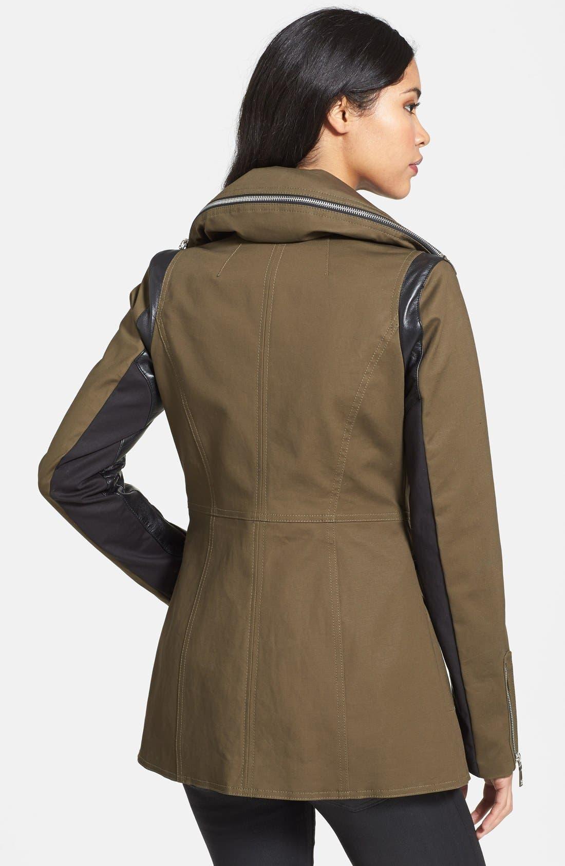 Alternate Image 2  - Dawn Levy Leather Sleeve Asymmetrical Jacket