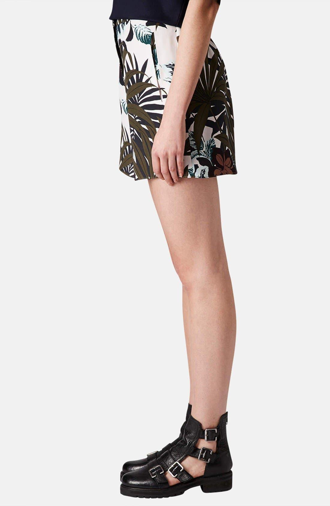 Alternate Image 4  - Topshop Jungle Print Silk Shorts