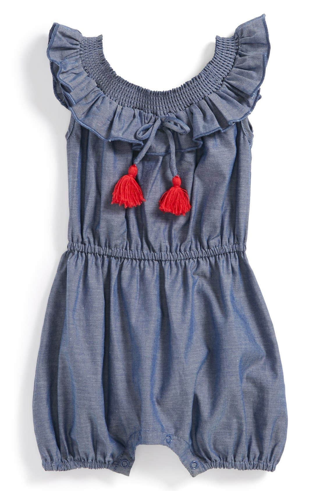 Alternate Image 1 Selected - egg by susan lazar Chambray Romper (Baby Girls)