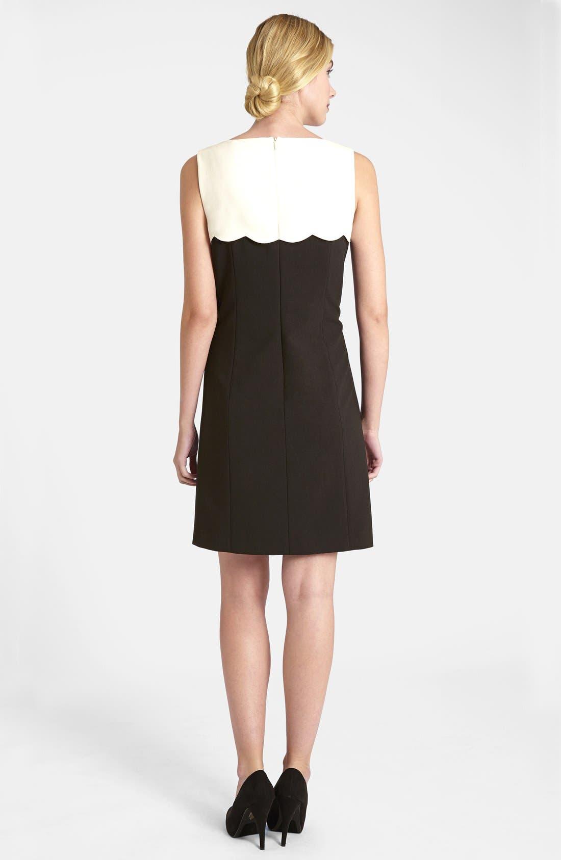 Alternate Image 2  - Tahari Scalloped Yoke Stretch Crepe Dress (Petite)