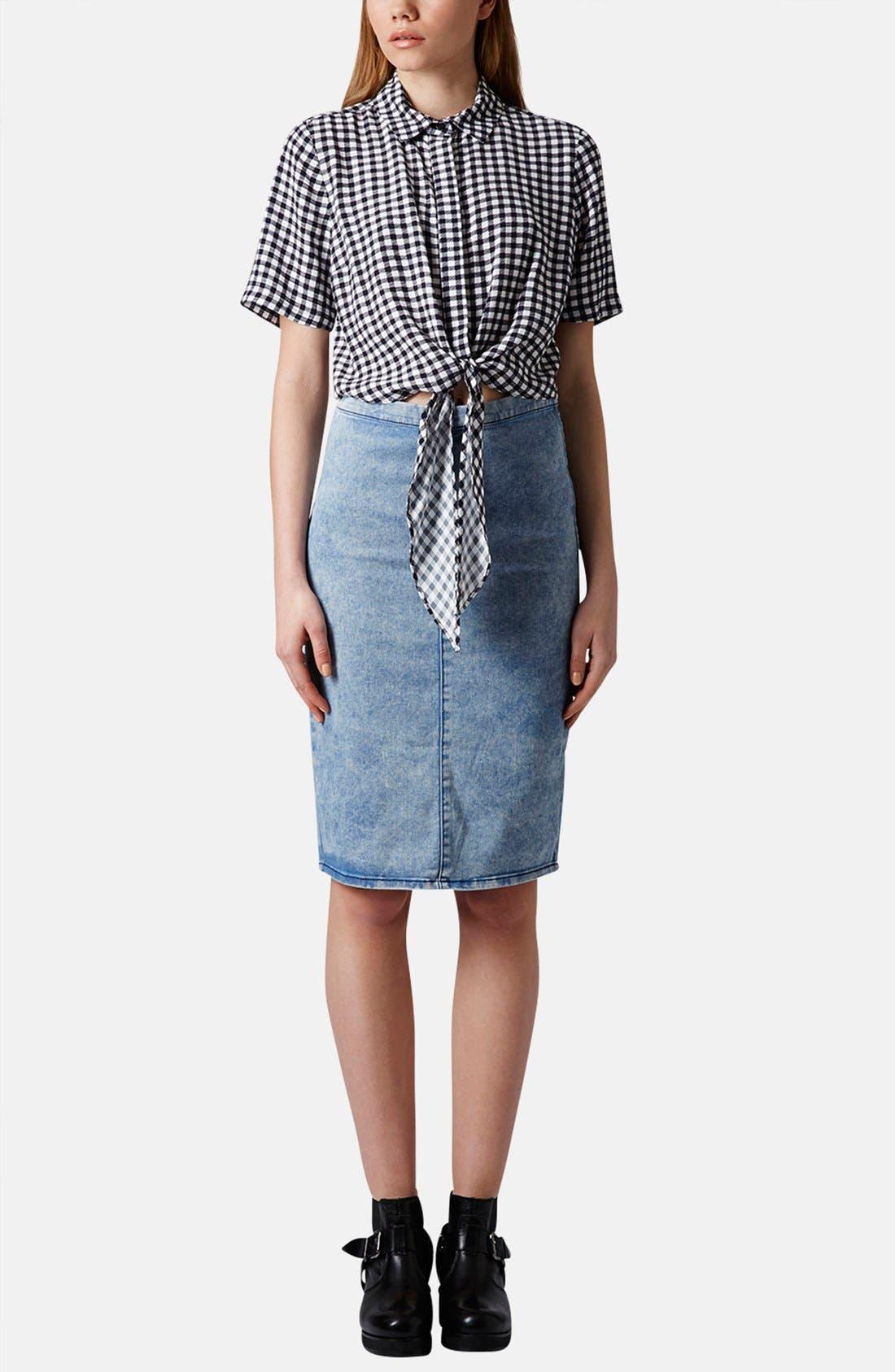 Alternate Image 5  - Topshop Moto Acid Wash Denim Pencil Skirt