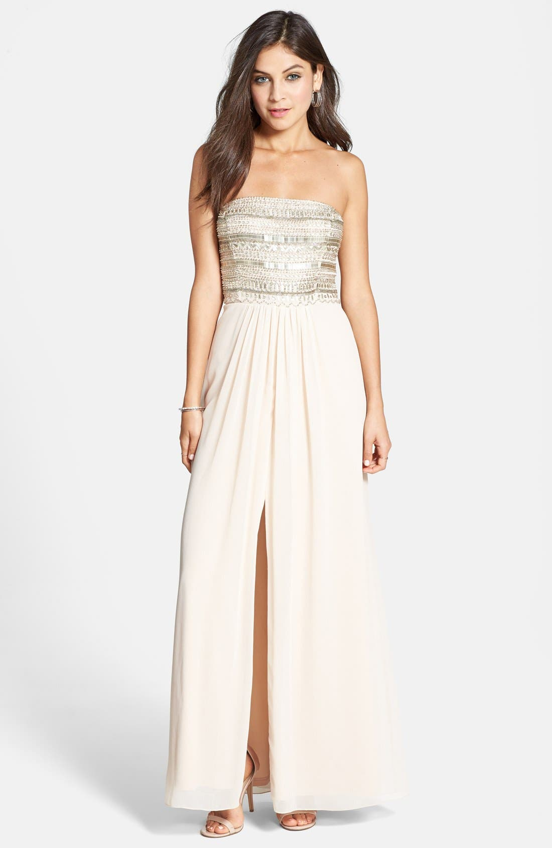 Alternate Image 1 Selected - Aidan Mattox Embellished Bodice Strapless Gown