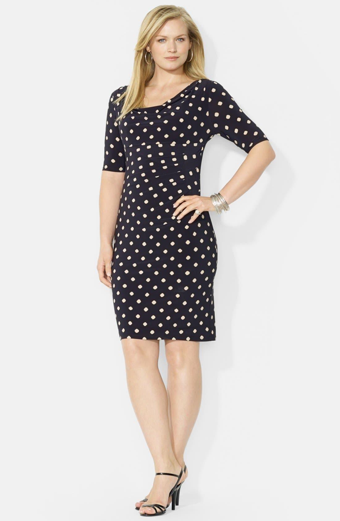 Main Image - Lauren by Ralph Lauren Cowl Neck Jersey Dress (Plus Size)