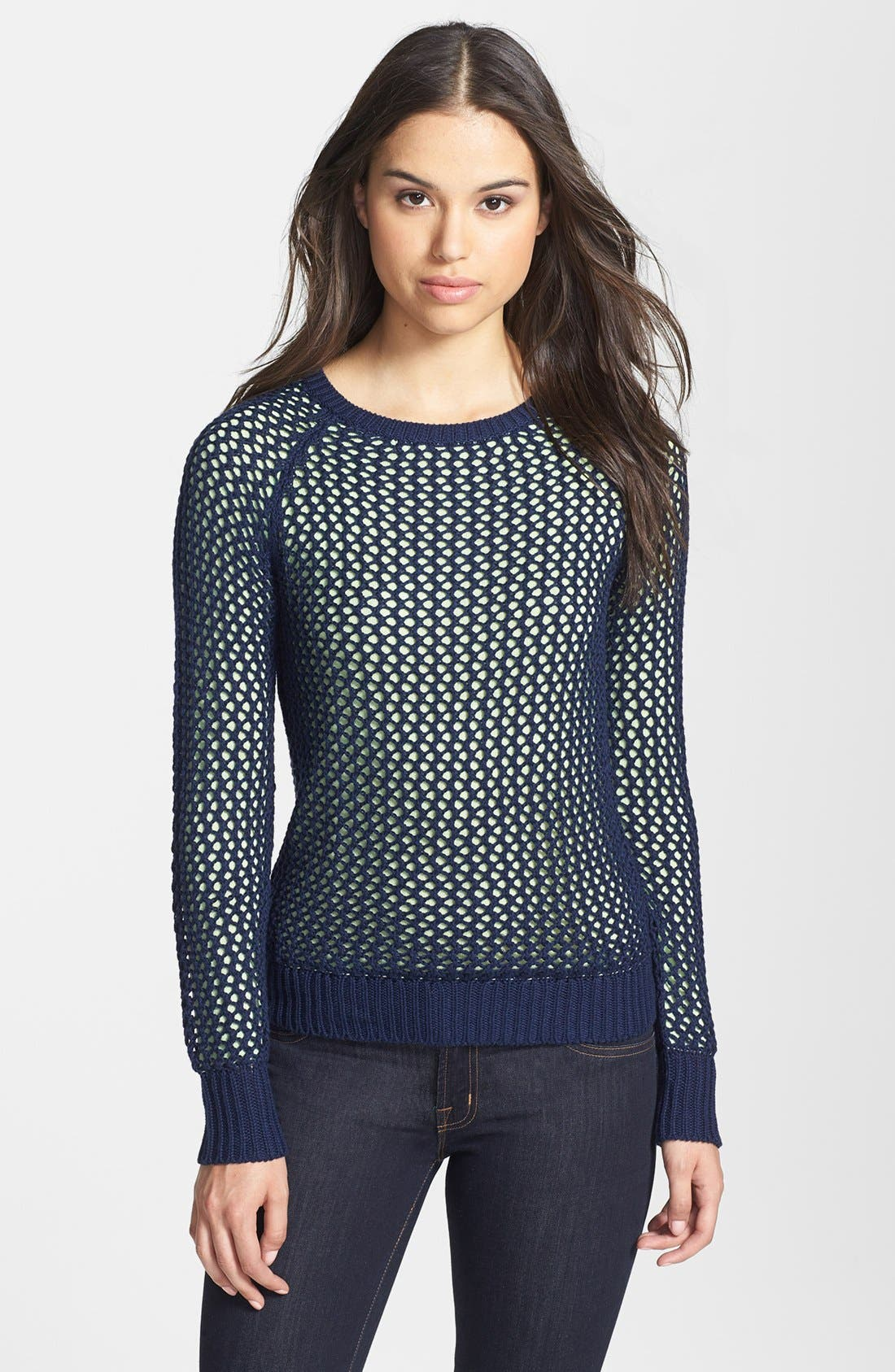 Alternate Image 1 Selected - Halogen® Two-Layer Raglan Sleeve Sweater (Petite)