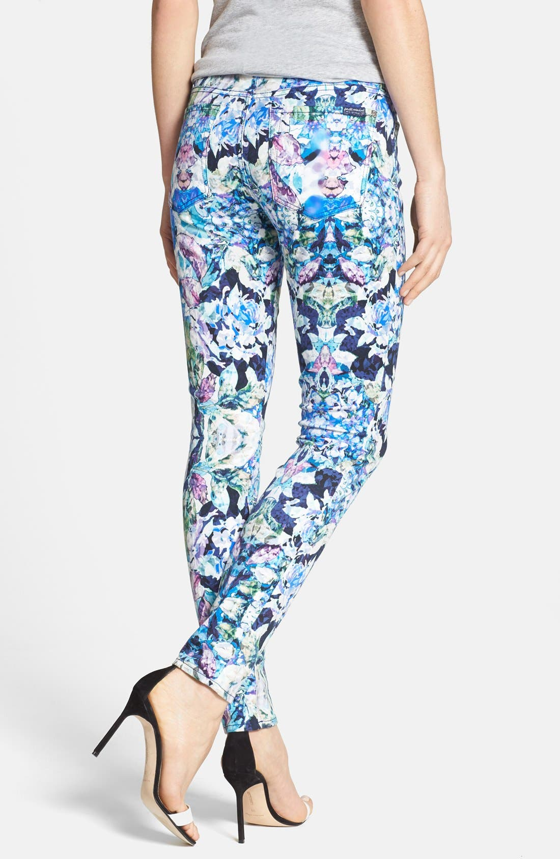 Alternate Image 2  - 7 For All Mankind® 'The Skinny' Stretch Jeans (Kaleidoscope Floral)