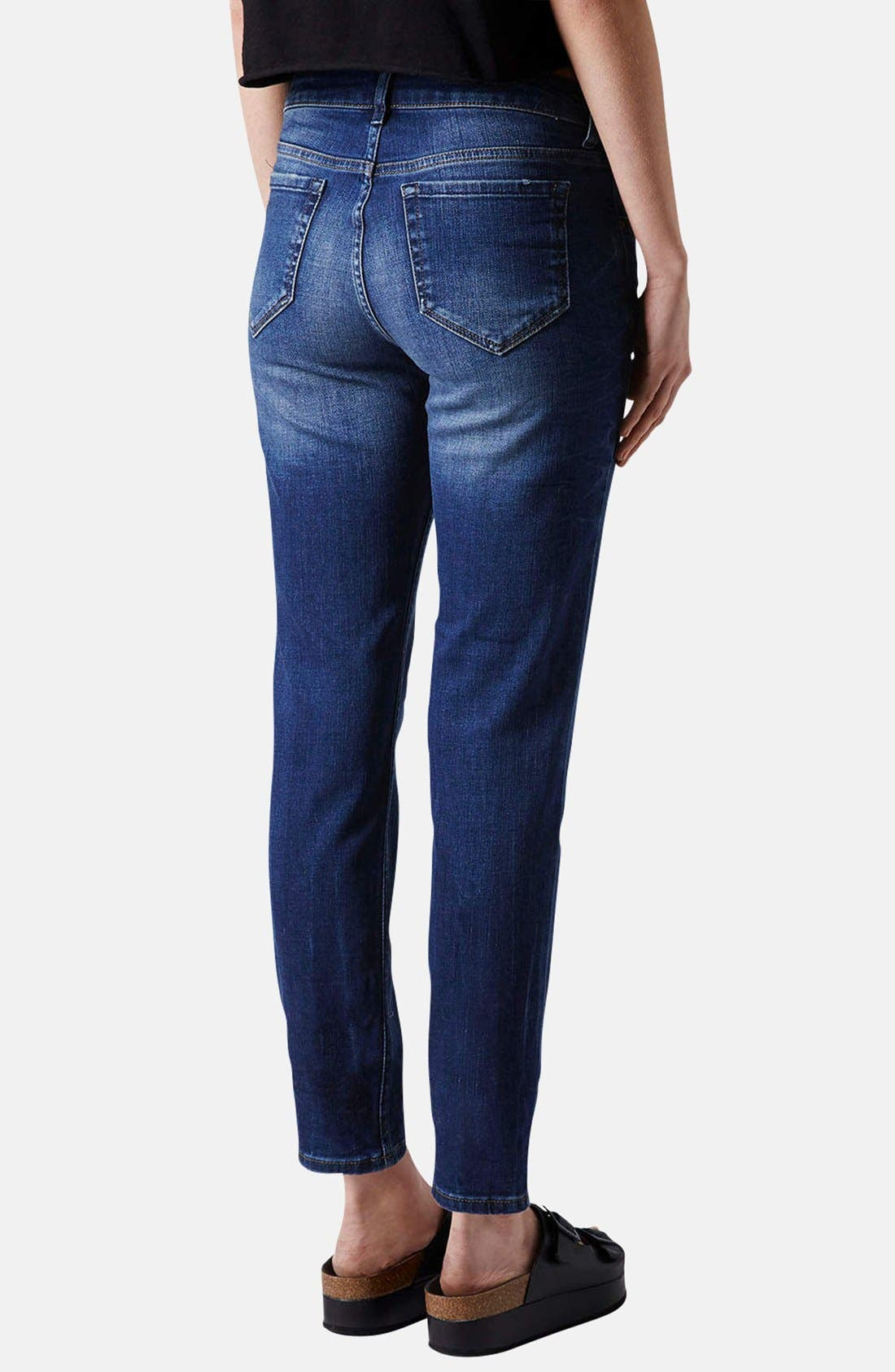 Alternate Image 2  - Topshop Moto Relaxed Straight Leg Jeans (Blue)