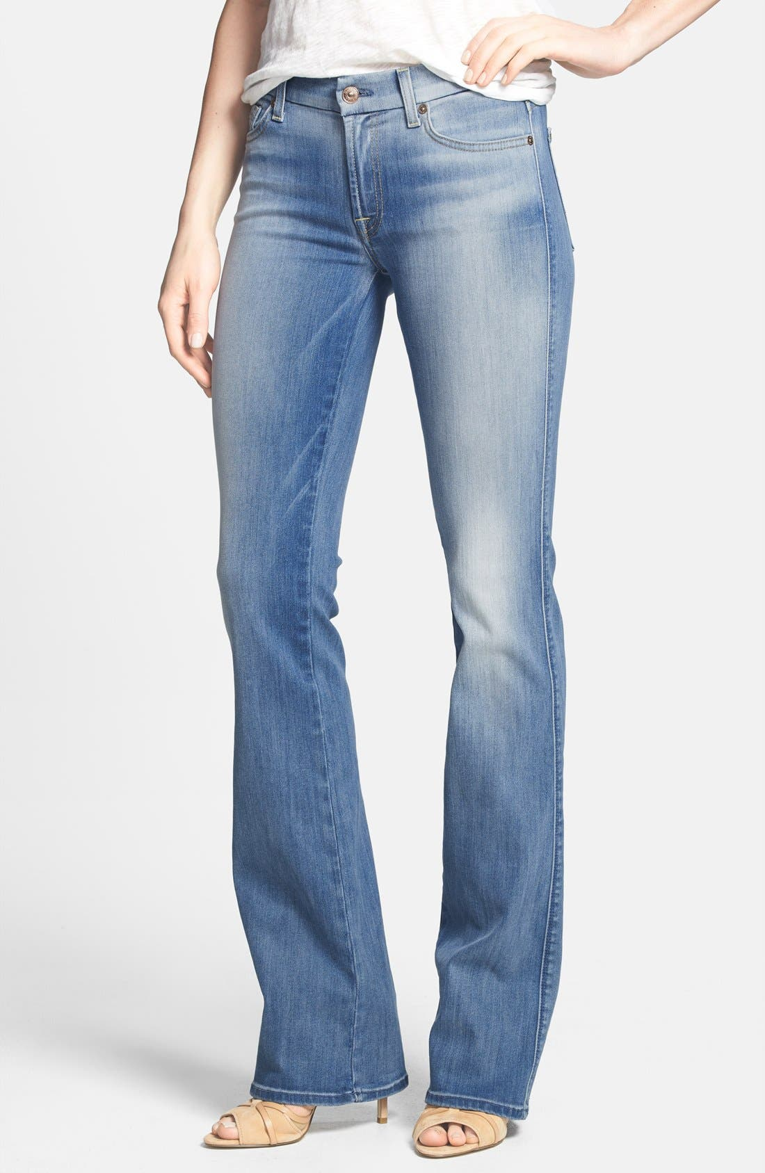 Main Image - 7 For All Mankind® 'Kimmie' Bootcut Jeans (Light Cobalt Blue)