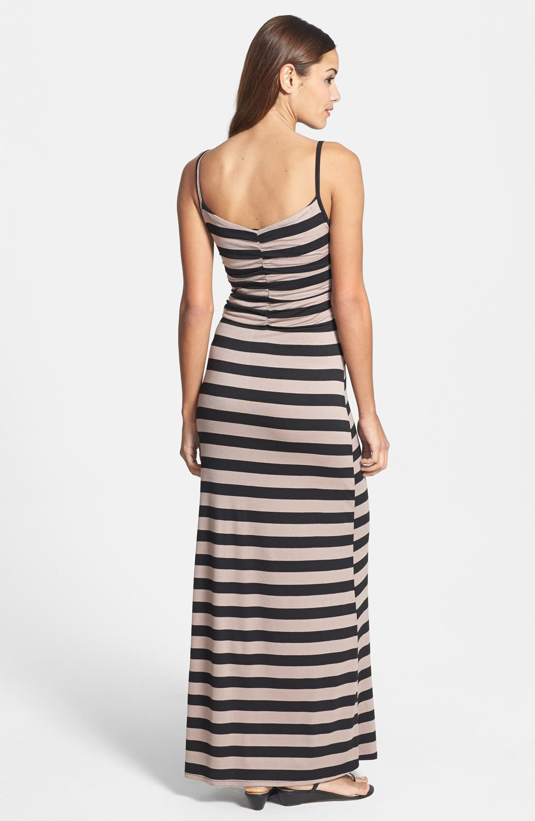 Alternate Image 2  - Loveappella Shirred Bodice Maxi Dress