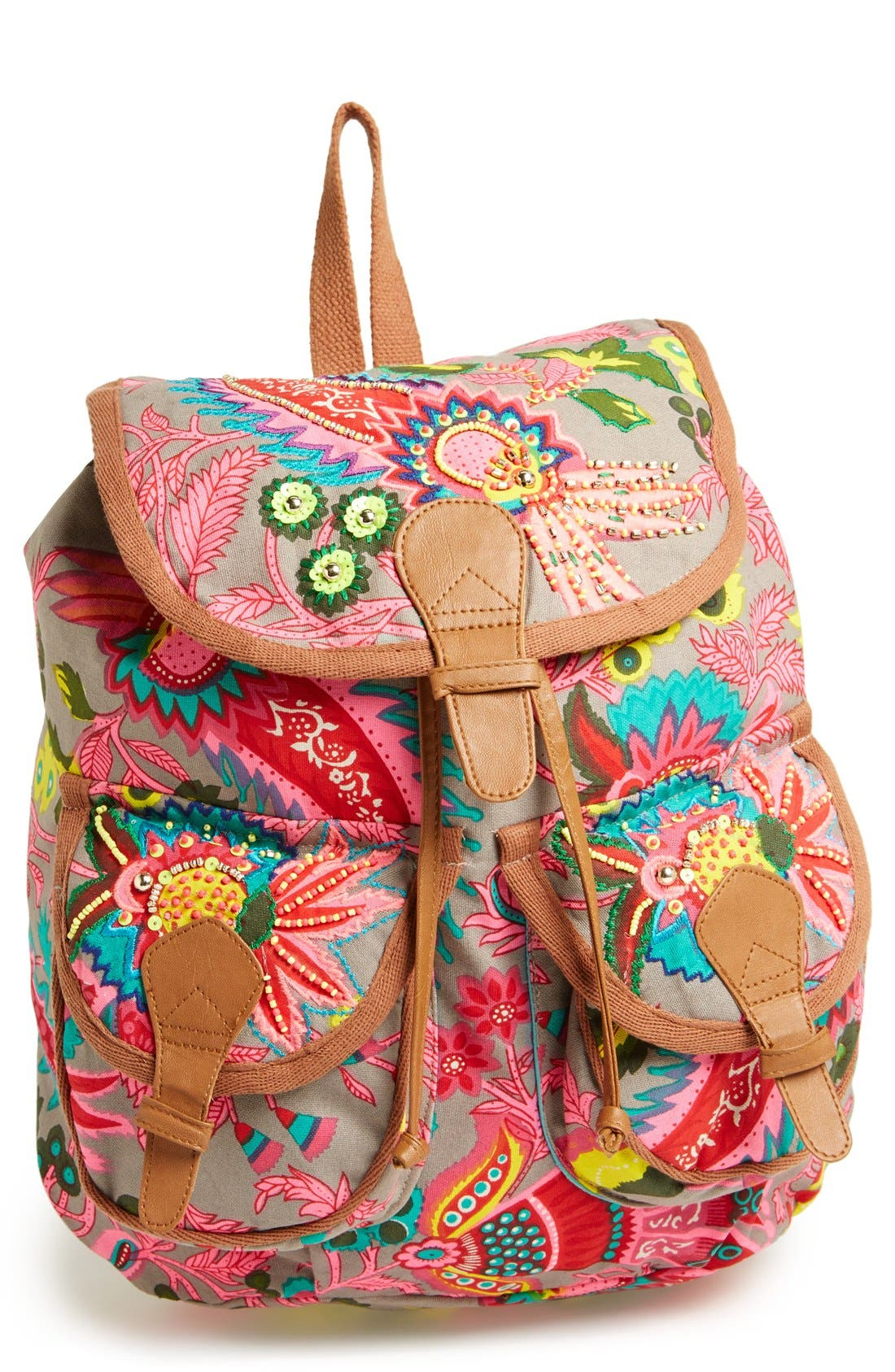 Alternate Image 1 Selected - Steve Madden Beaded Canvas Backpack