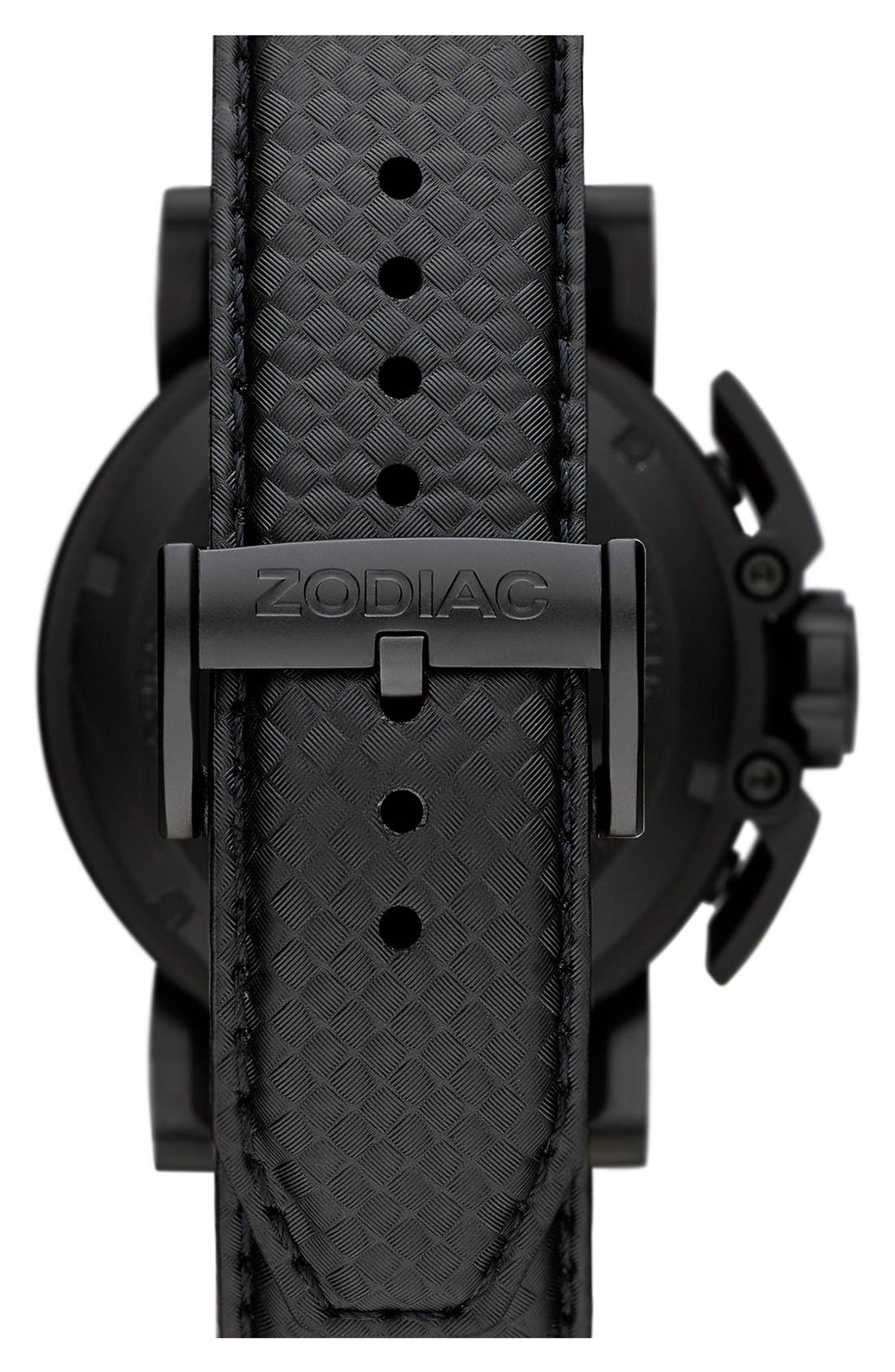 Alternate Image 2  - Zodiac 'Racer' Chronograph Leather Strap Watch, 47mm