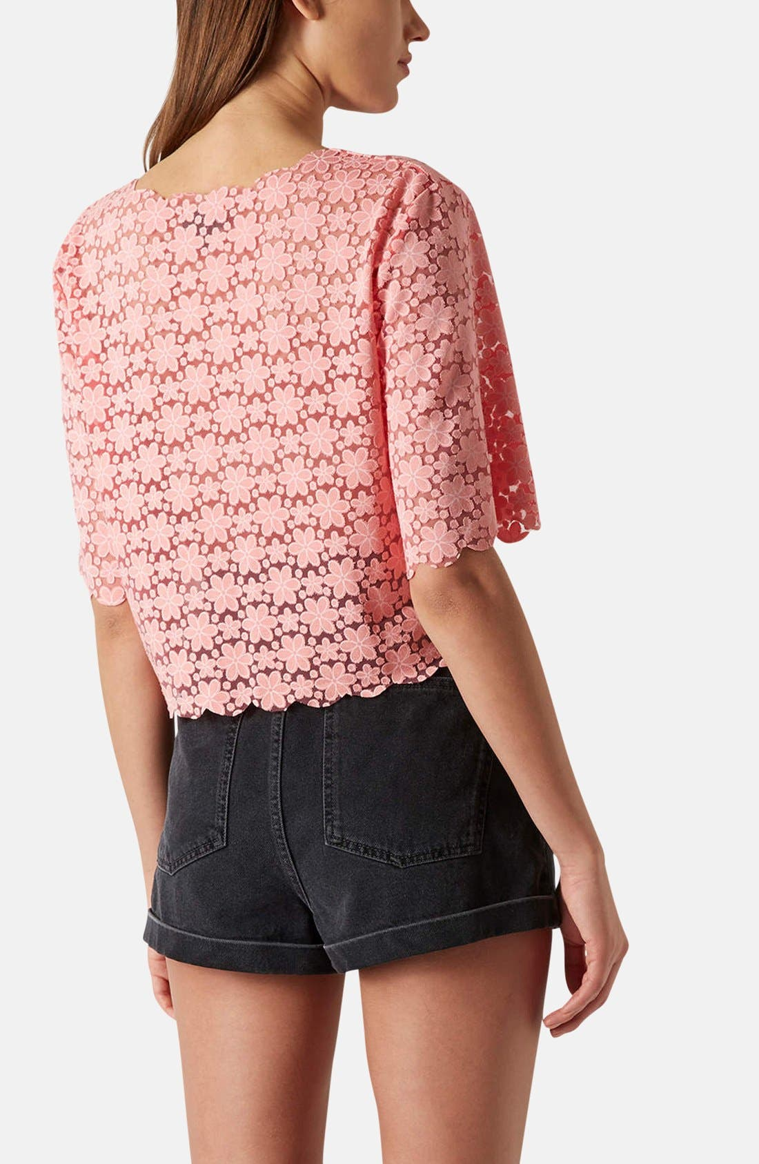Alternate Image 2  - Topshop Daisy Burnout Crop Top