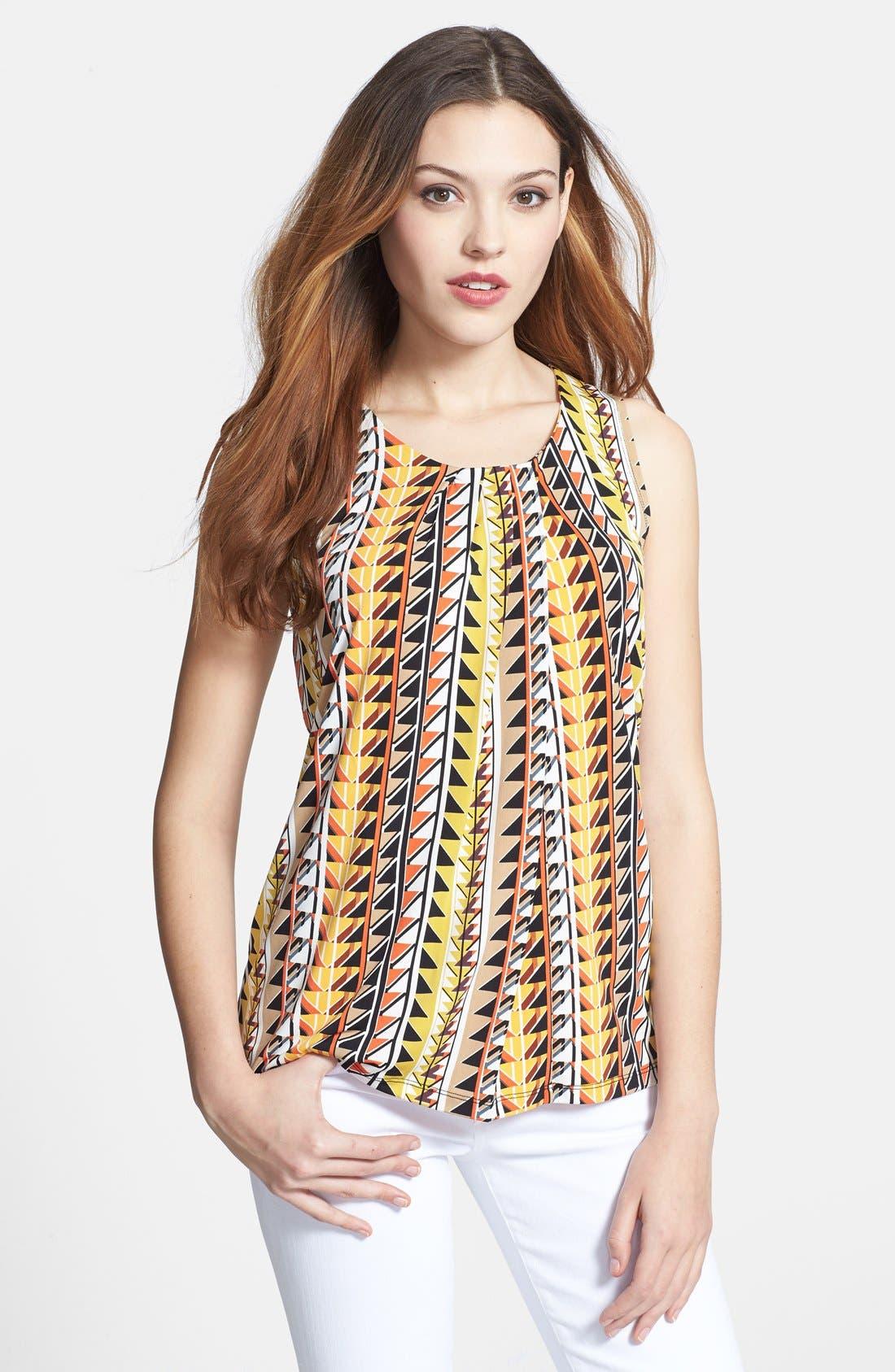 Main Image - Anne Klein Pleat Neck Multi Stripe Top
