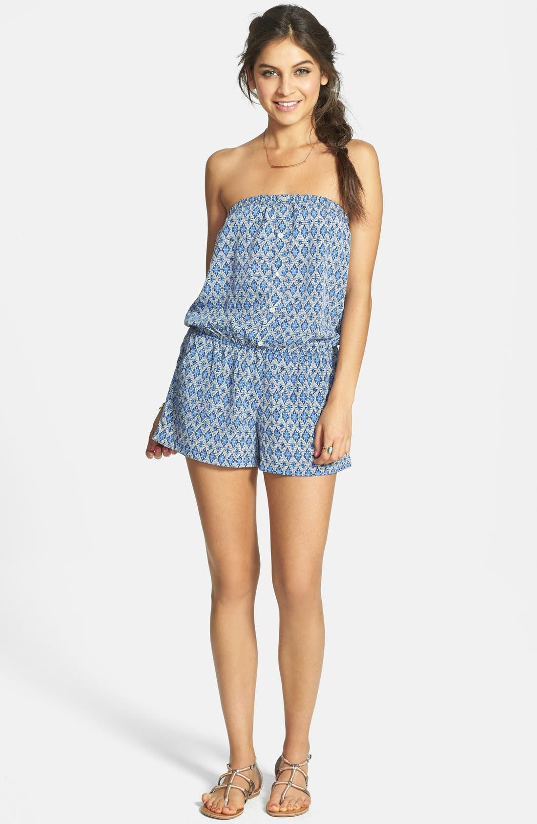 Alternate Image 1 Selected - Socialite Front Button Strapless Romper (Juniors)