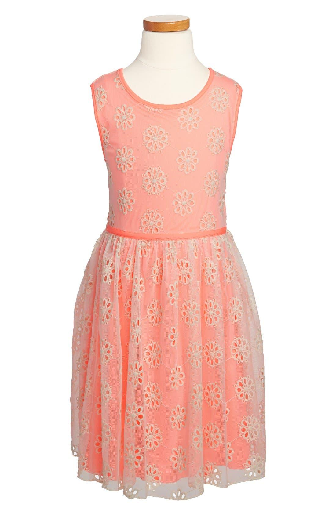 Main Image - Zunie Embroidered Sleeveless Dress (Little Girls & Big Girls)