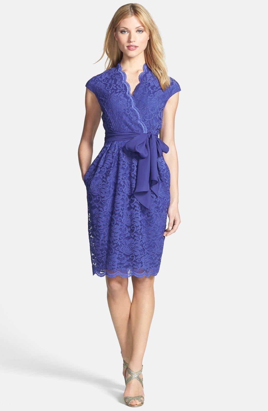 Alternate Image 1 Selected - Alex Evenings Surplice Lace Dress