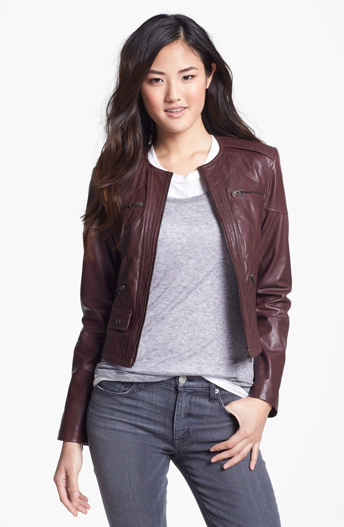 Main Image - Bernardo Quilted Collarless Leather Jacket (Petite) (Nordstrom Exclusive)