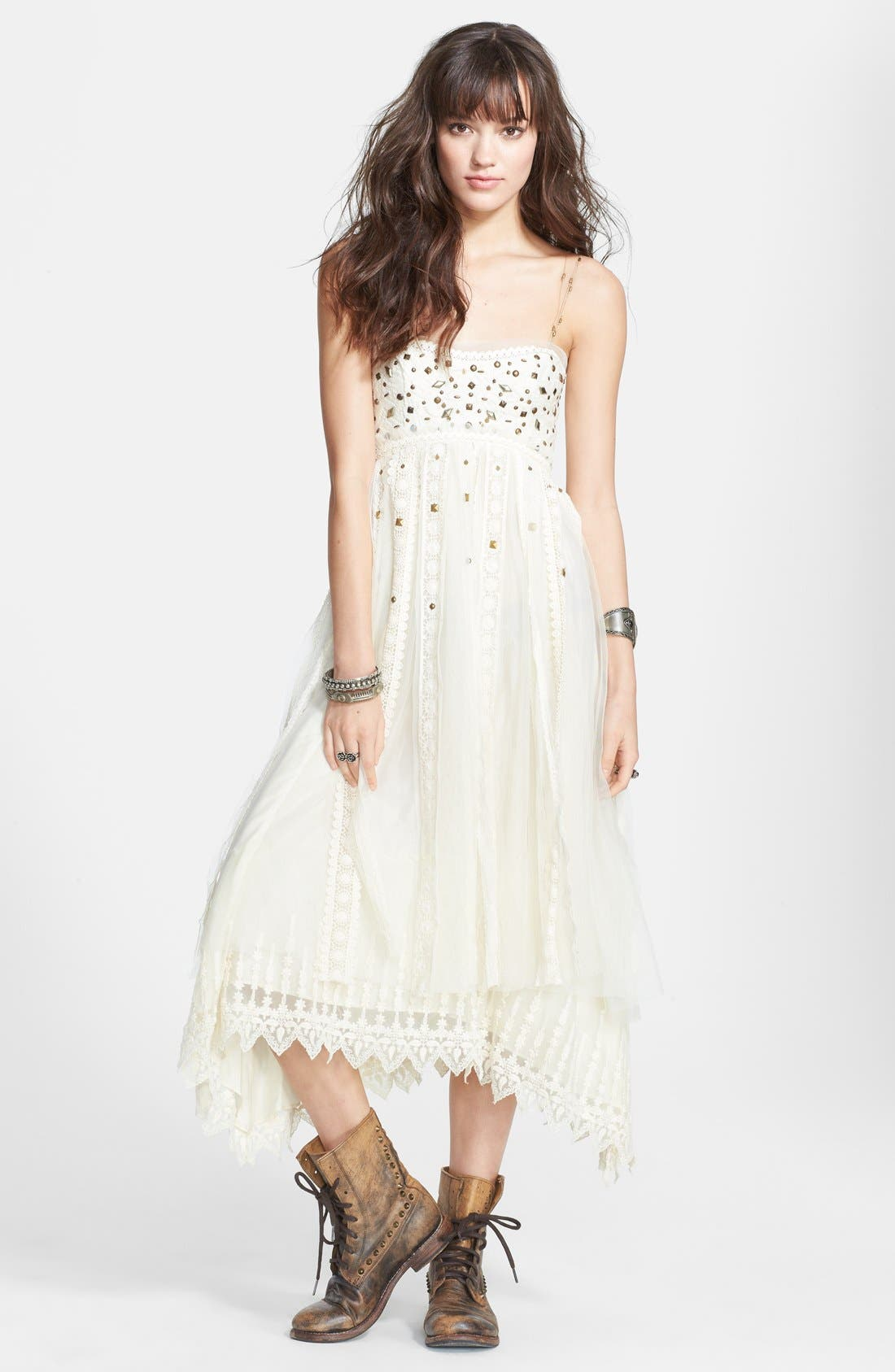 Main Image - Free People Stud Lace Trim Midi Dress
