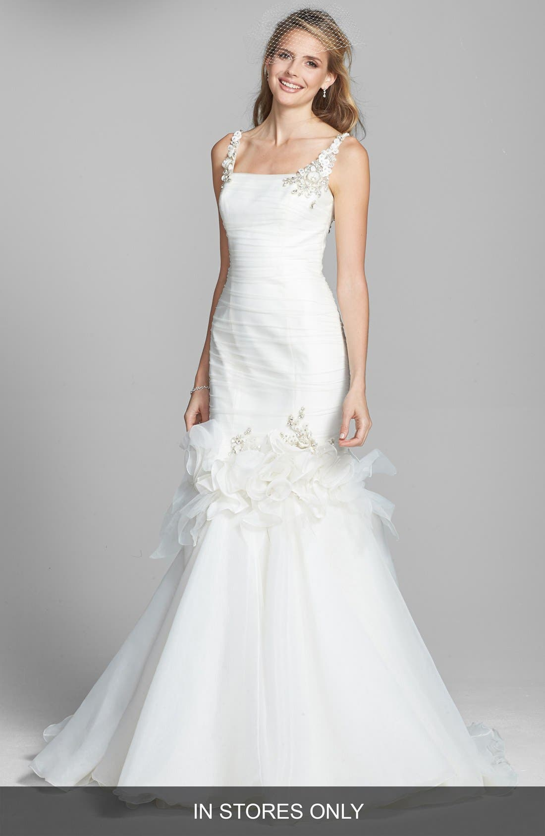 Alternate Image 1 Selected - Badgley Mischka Bridal 'Grace' Embellished Tulle & Chiffon Mermaid Dress (In Stores Only)