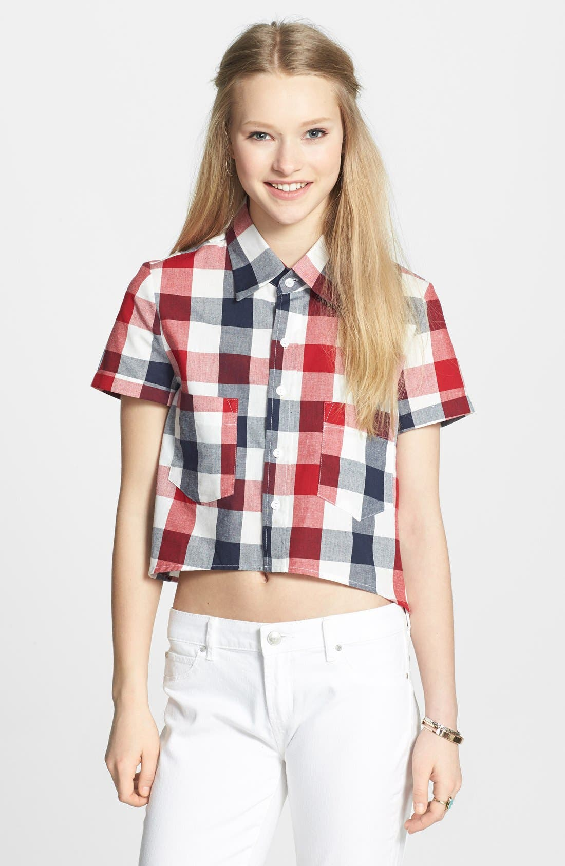Main Image - Haute Society Short Sleeve Crop Plaid Shirt (Juniors)
