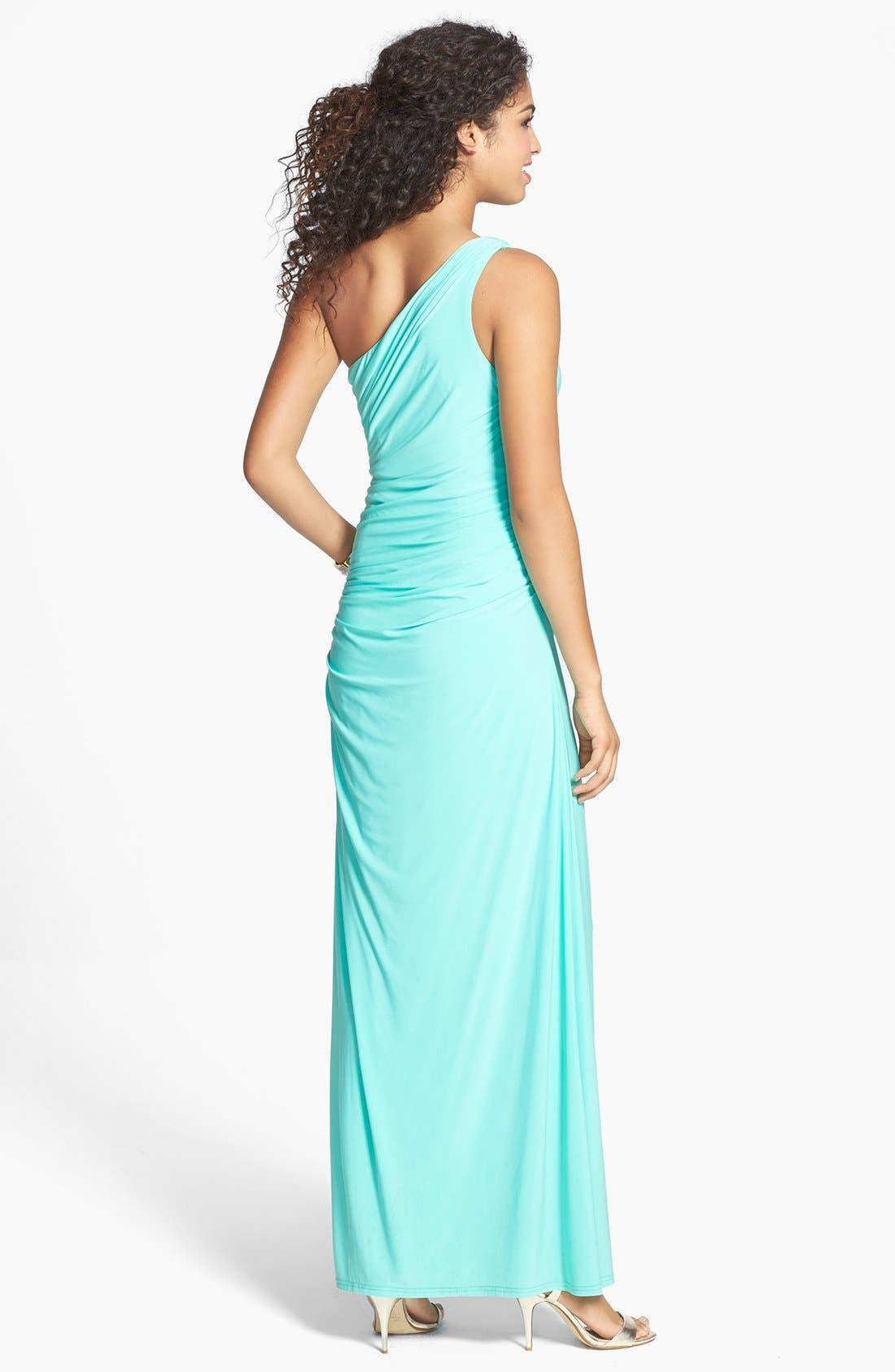 Alternate Image 2  - Hailey Logan Embellished One-Shoulder Gown (Juniors)
