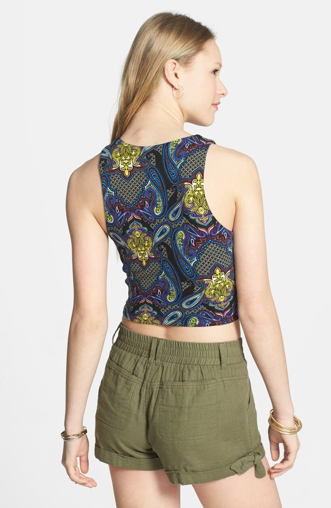 Alternate Image 2  - Lily White Print Crop Tank (Juniors)