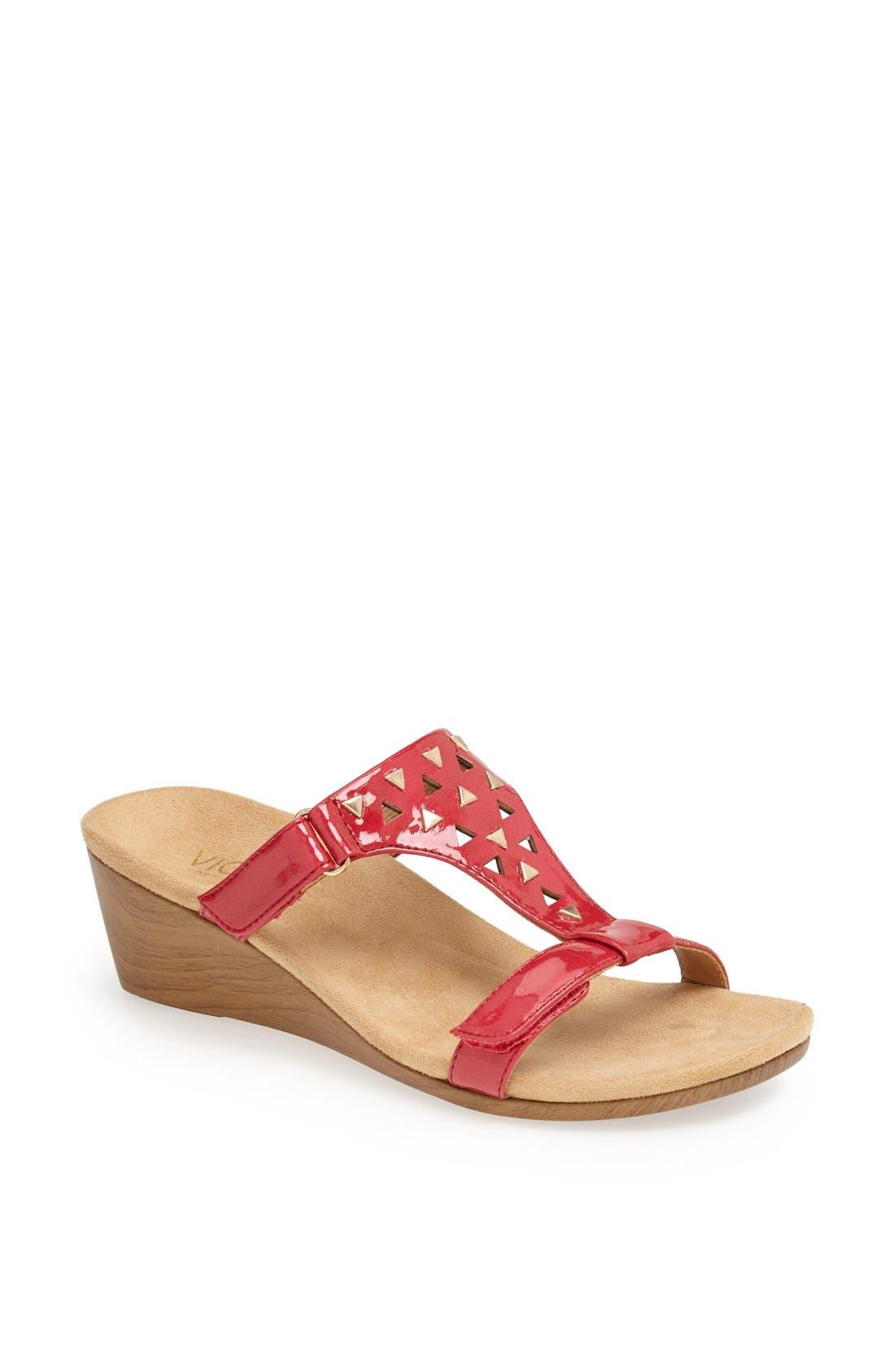 Main Image - Vionic 'Maggie' Geometric Cutout Wedge Sandal