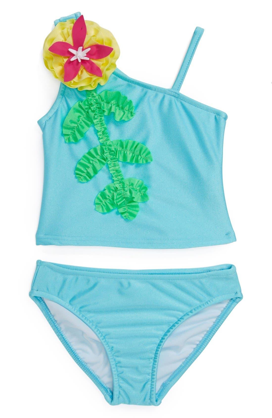 Main Image - Love U Lots 'Caribbean' Two-Piece Swimsuit (Baby Girls)