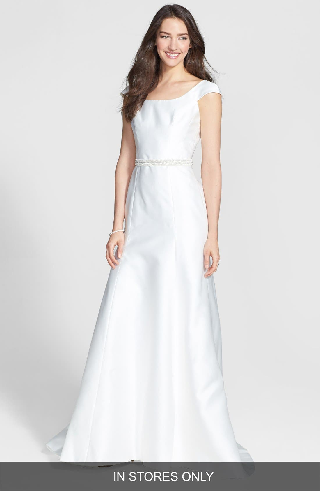 Main Image - Jesús Peiró Embellished Waist Mikado A-Line Dress (In Stores Only)