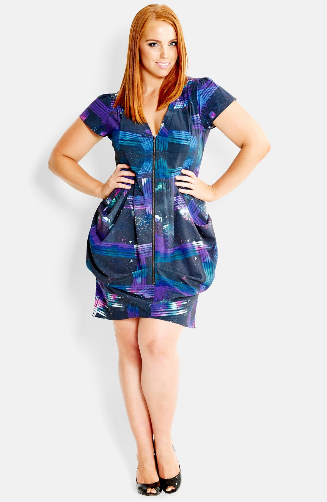 Alternate Image 1 Selected - City Chic Print Front Zip Pleat Tunic (Plus Size)
