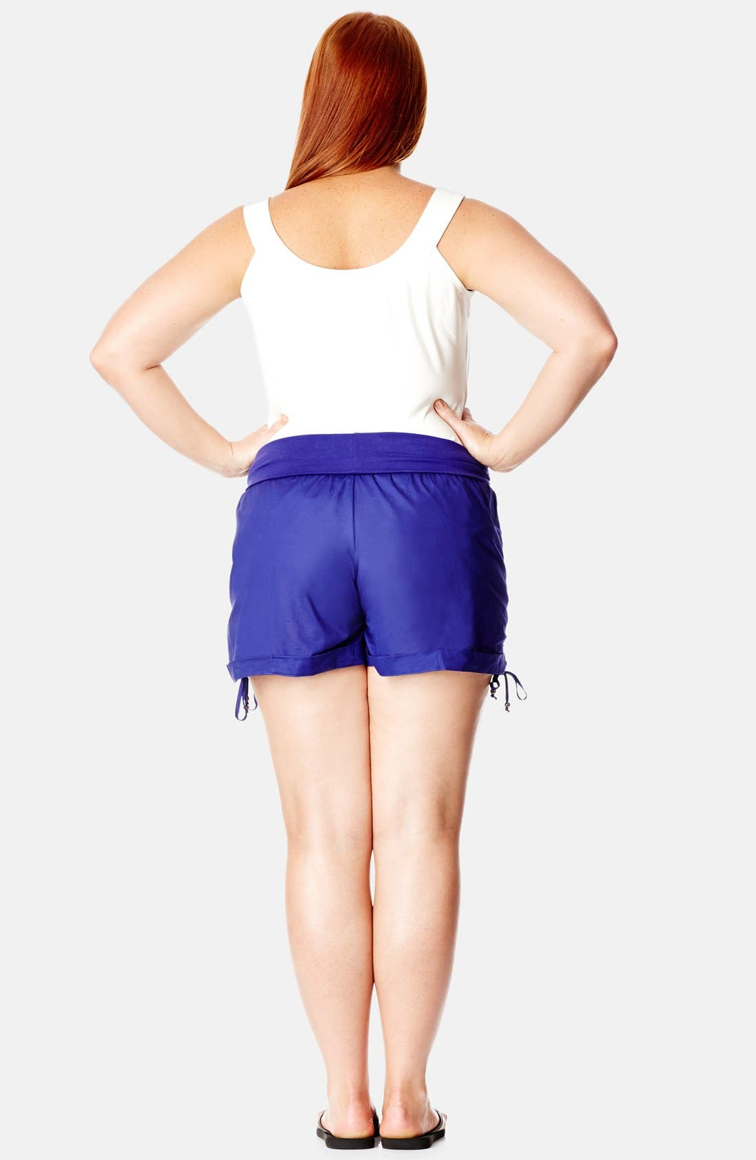 Alternate Image 2  - City Chic Roll Waist Ruched Shorts (Plus Size)