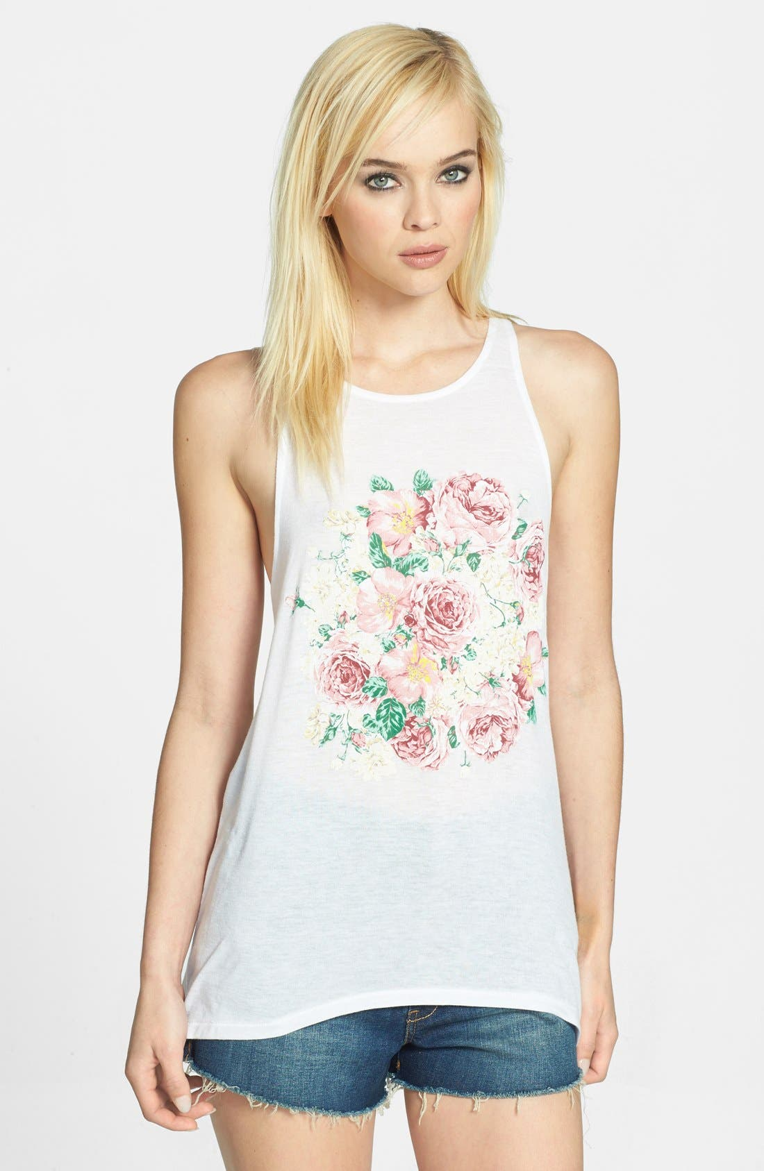 Alternate Image 1 Selected - In Love With Strangers Floral Graphic Muscle Tank