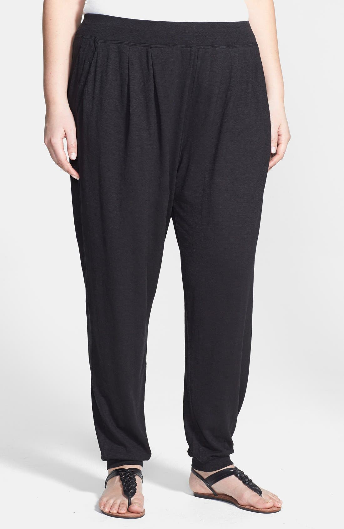 Alternate Image 1 Selected - Eileen Fisher Pleat Front Knit Ankle Pants (Plus Size)