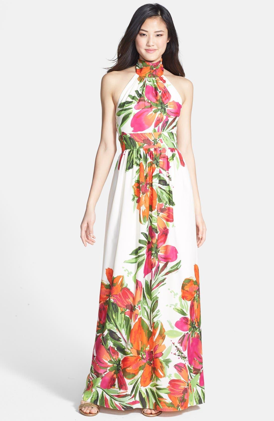 Alternate Image 1 Selected - Eliza J Print Chiffon Halter Maxi Dress
