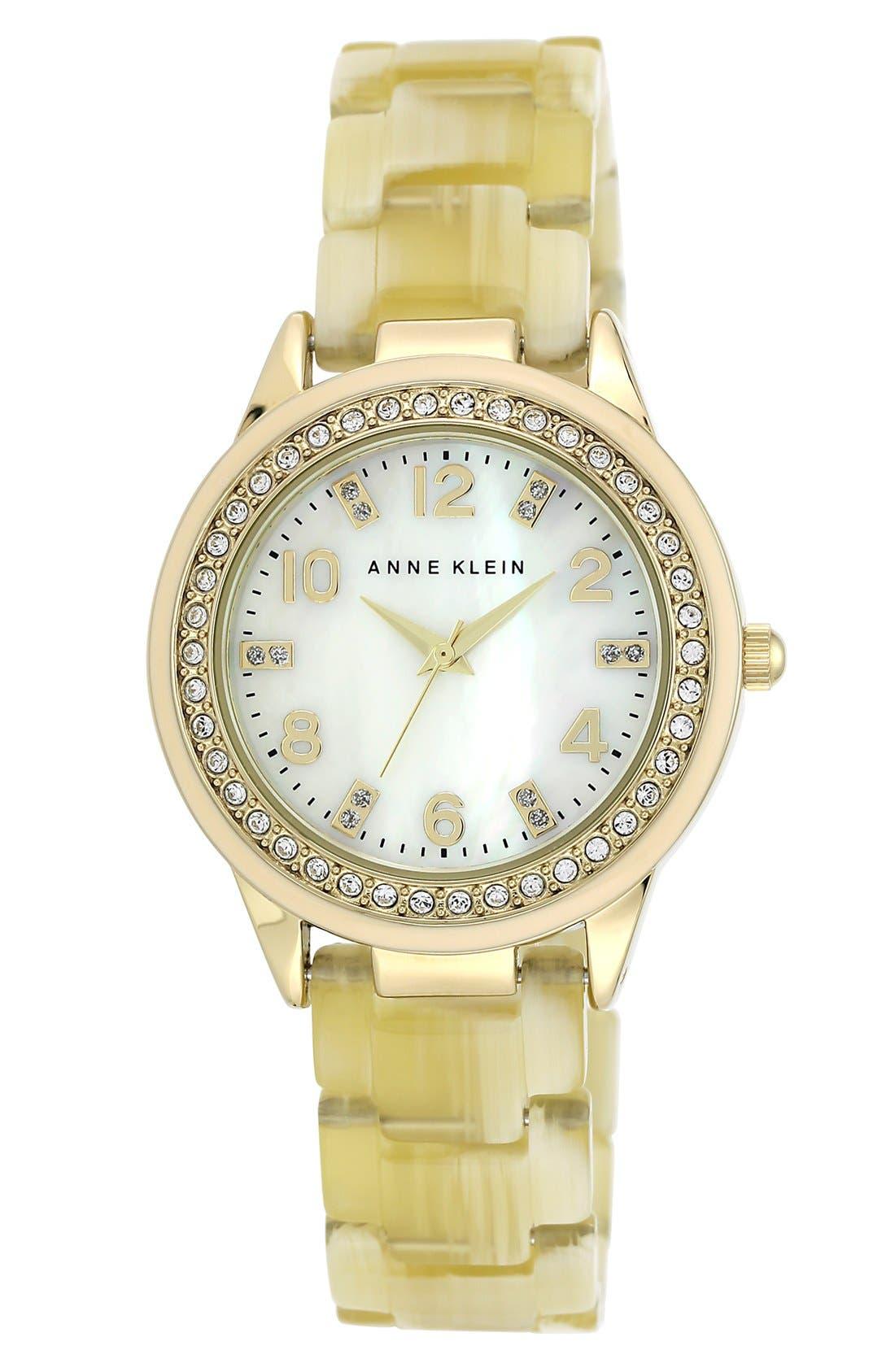 Alternate Image 1 Selected - Anne Klein Crystal Case Bracelet Watch