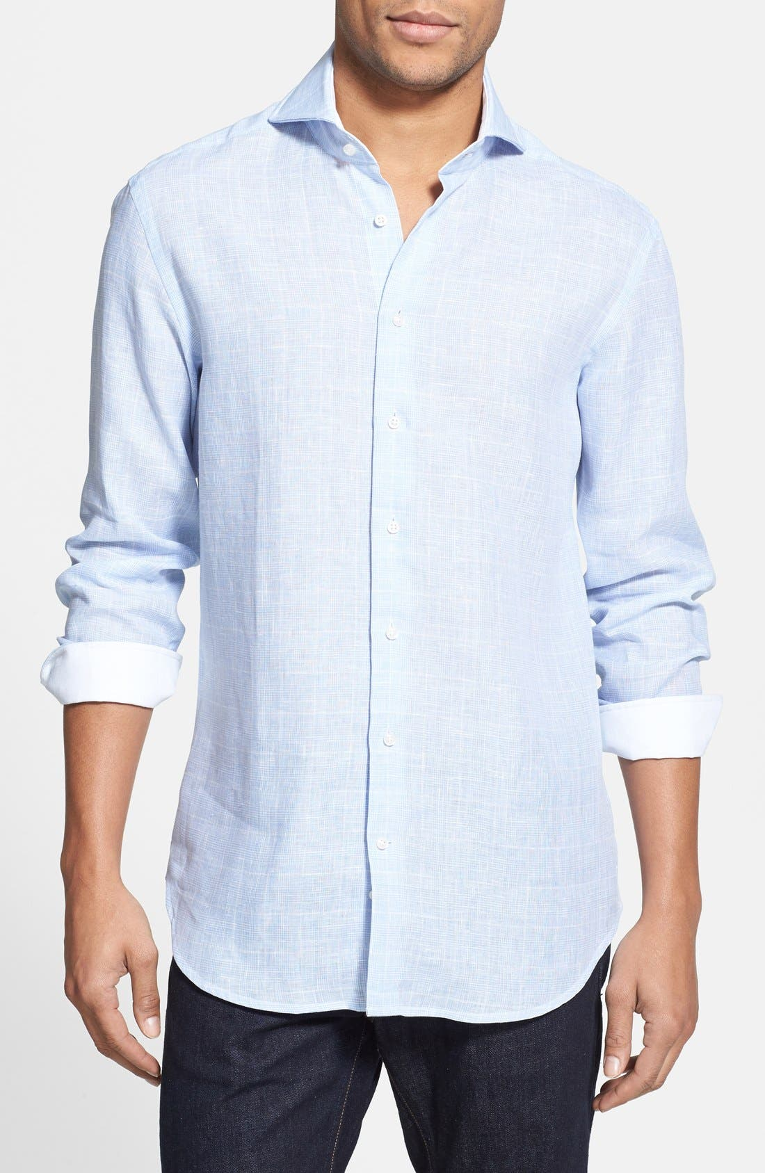 Main Image - Kent and Curwen Trim Fit Prince of Wales Linen Sport Shirt