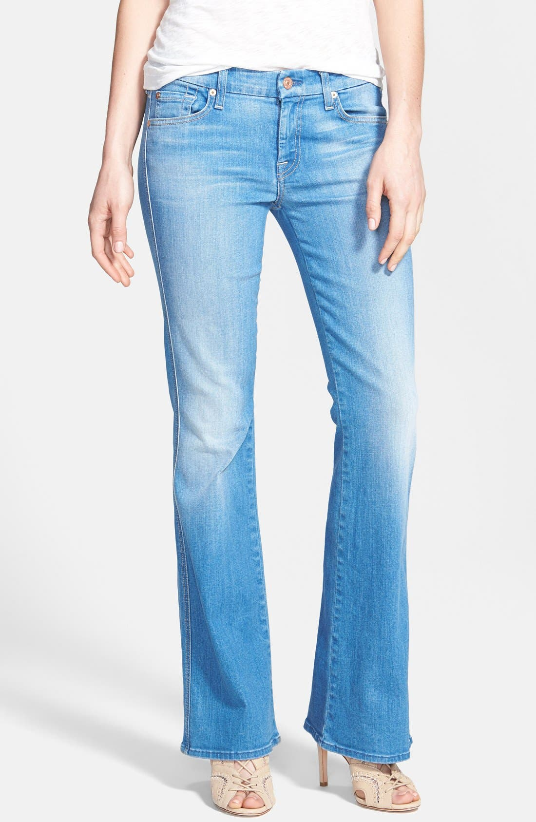 Main Image - 7 For All Mankind® 'A-Pocket' Bootcut Jeans (Petite) (Dutch Blue)